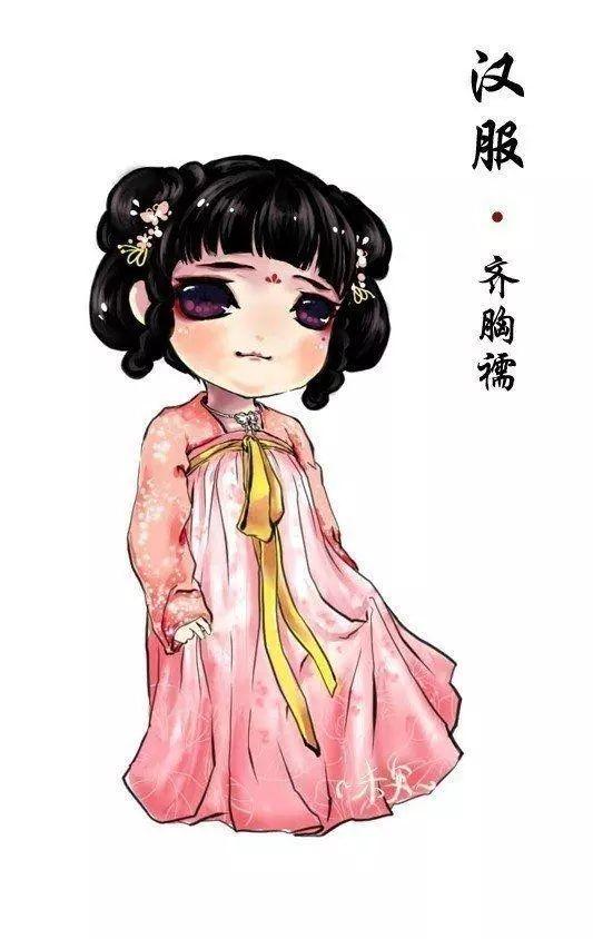 素材 中国风手绘汉服