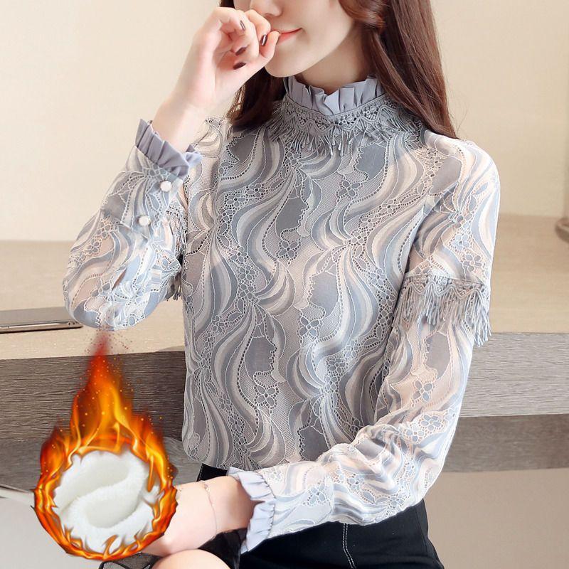 加绒加厚保暧立领蕾丝衫,尽情展现女性优雅气质