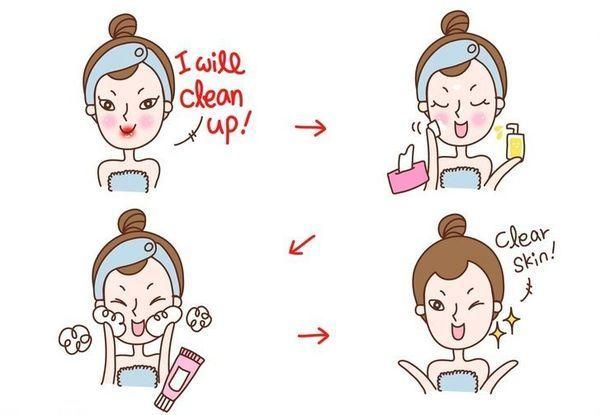 面部清洁女孩手绘