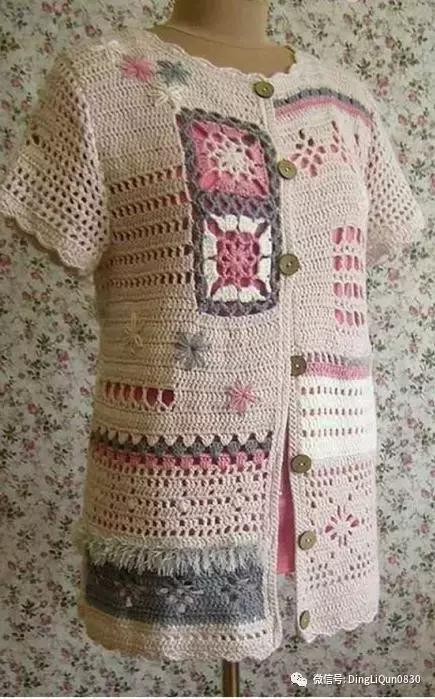 「钩编图解」不规则的钩针拼布技术制作衣服等