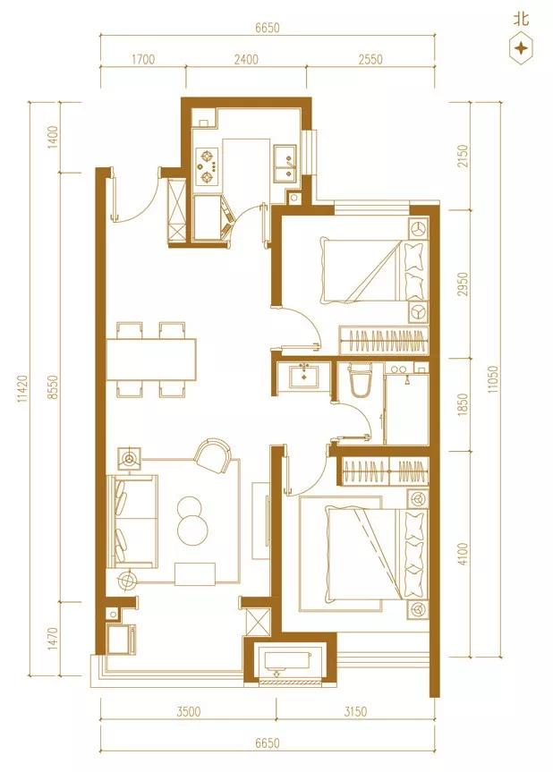 万科新都会115平米三室两厅一卫户型图