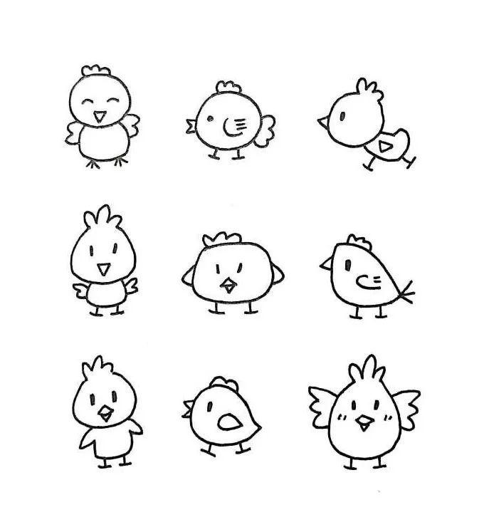 一组萌萌哒的简笔画小动物