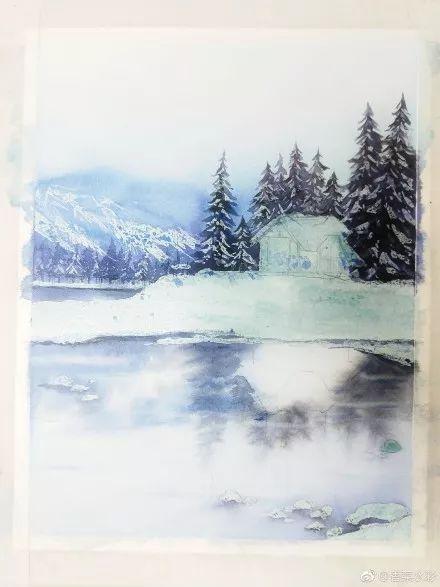 你那里下雪了吗 分享一个雪景水彩风景教程图片