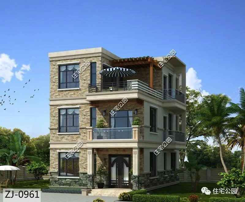 8×11米大别墅+小面宽,三层平顶现代风别墅古代风格中式露台图片
