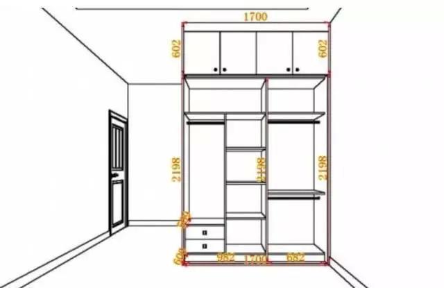 年薪百万家居设计师分享:20款衣柜装修黄金尺寸+设计图纸,实用图片