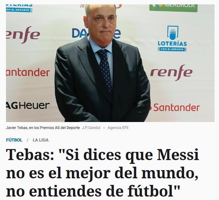 西甲主席:批评梅西的人不懂球他比C罗强太多