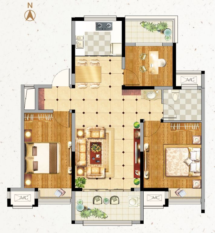 3室2厅1厨1卫设计图
