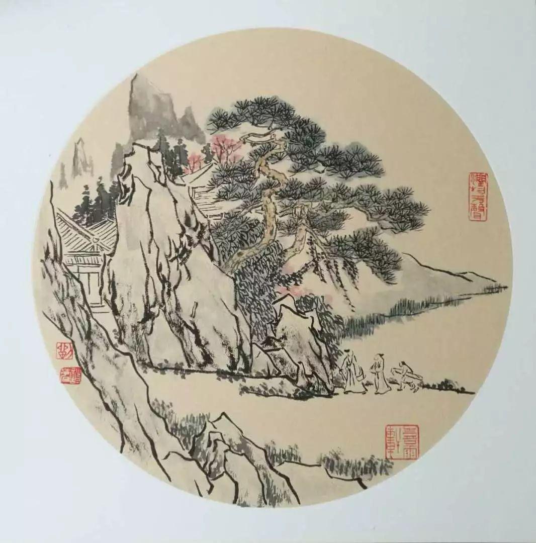 高山枫叶手绘画