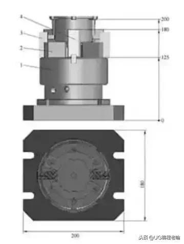 5mm的通孔,孔口倒角工序加工,设计以气动三爪自定心卡盘夹紧工件,以两