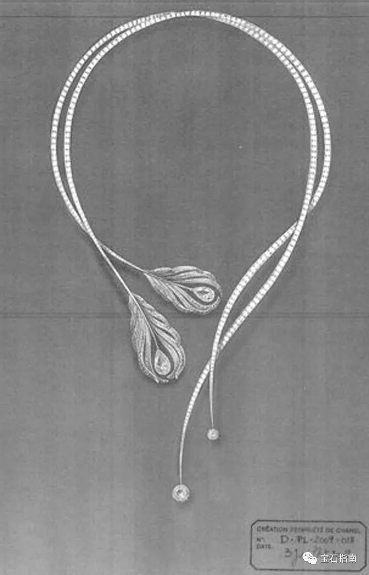 如同当年的作品一样,每件珠宝的诞生第一步都是从水彩素描的设计图图片