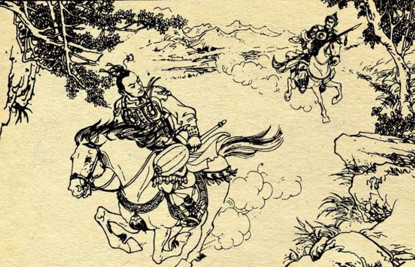 李元霸看见秦琼拨马就跑,秦琼追上,李元霸下马扔双锤,跪倒磕头