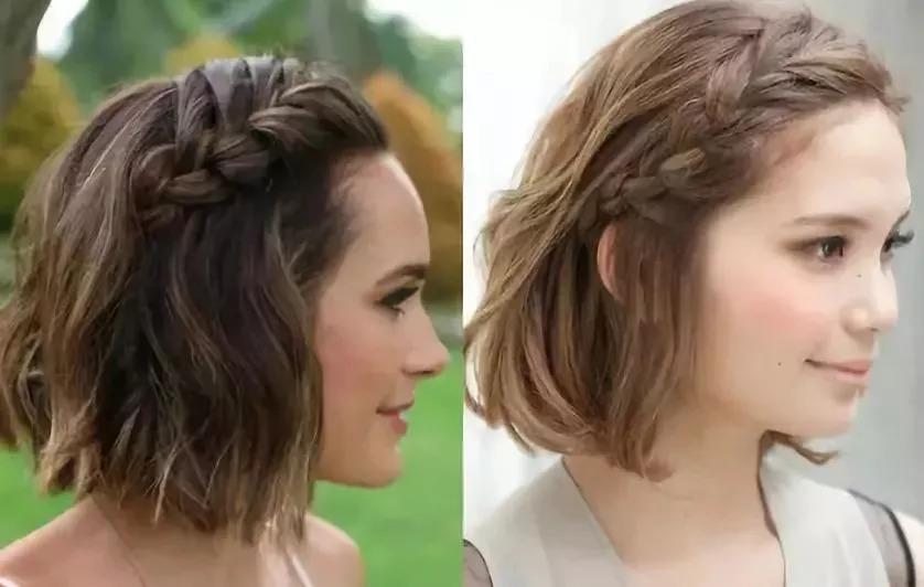 女生头发刚到锁骨,像这样四款,扎辫子好看