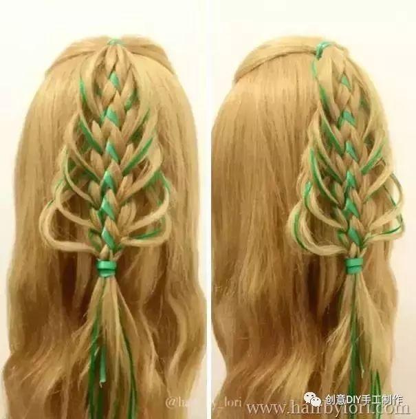 过圣诞节的时候给女儿编个这样的头发吧!一定萌到所有图片