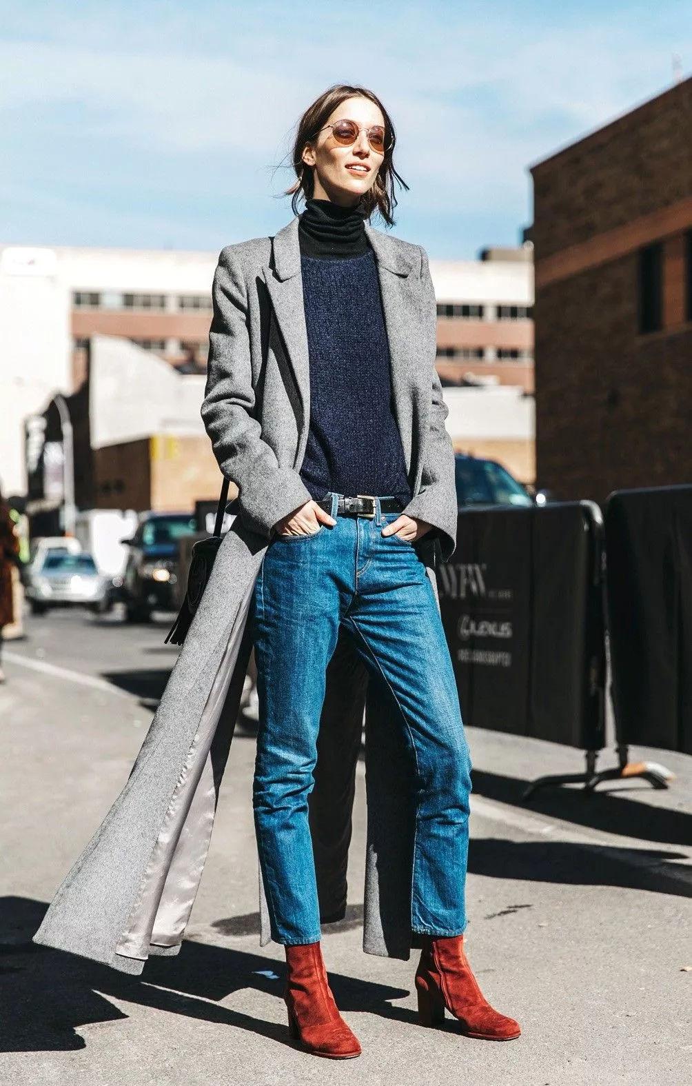 大衣+牛仔裤+踝靴,冬季王炸组合!_经典
