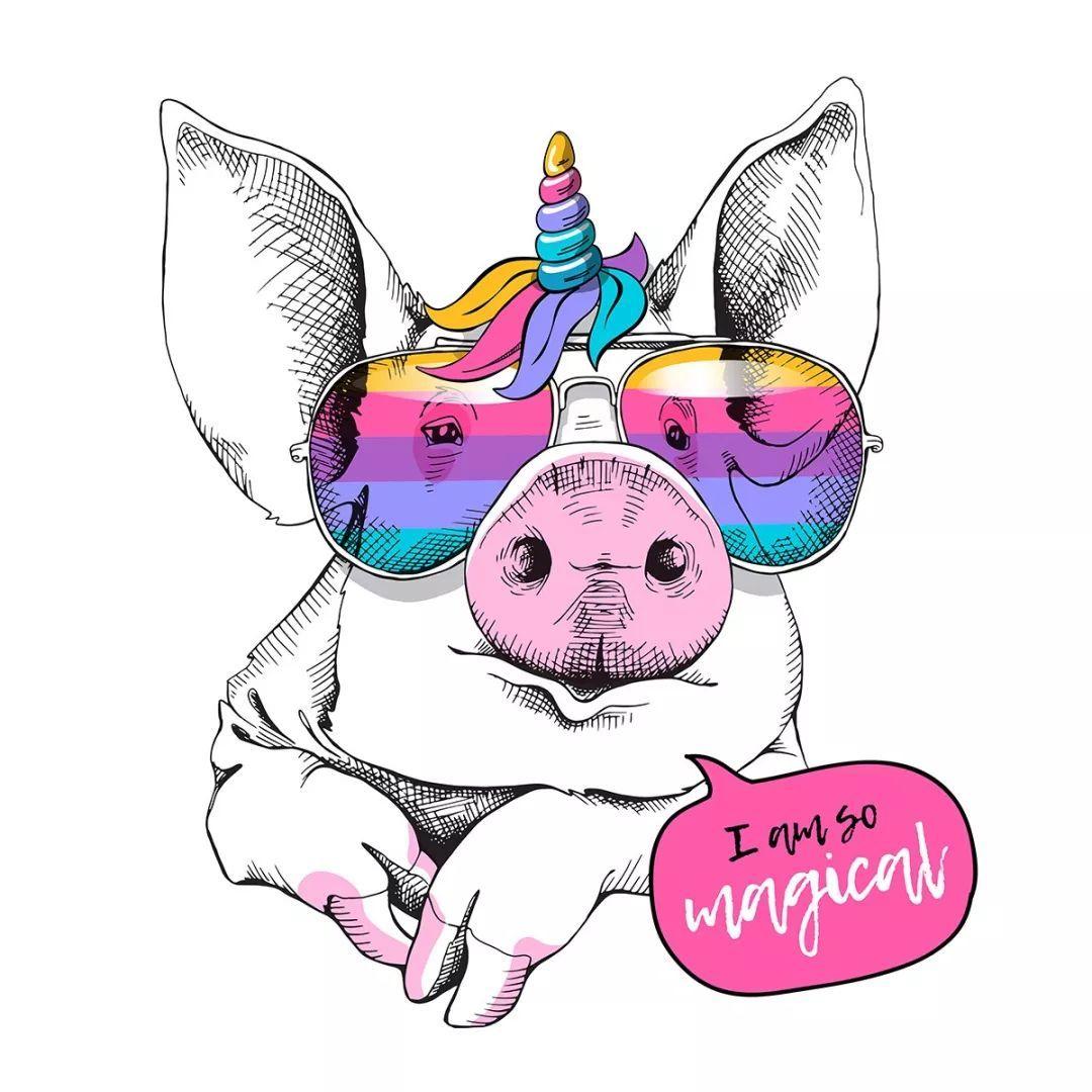 通过手绘插画等丰富的表现手法呈现个性而新潮的猪猪图案.