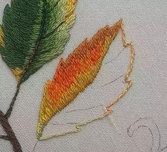 刺绣| 4款刺绣叶子是必须要get的技能!针法+图纸+教程图片