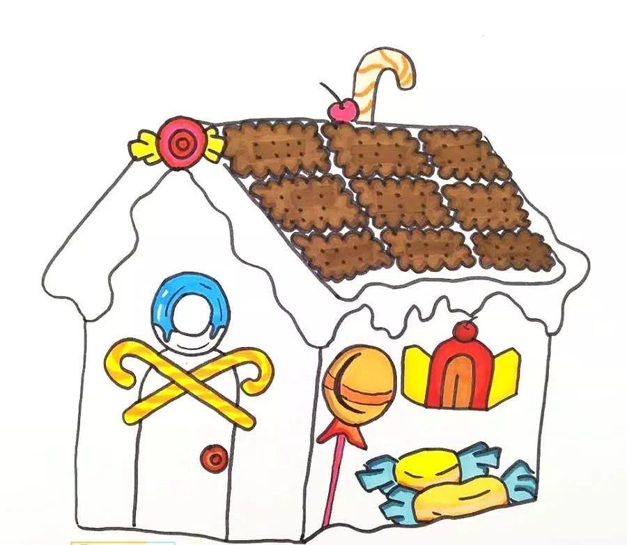 然后添加糖果,饼干等元素,并用记号笔画出设计好的糖果屋造型.图片
