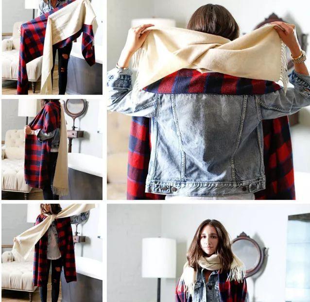 丝巾为大块的方巾
