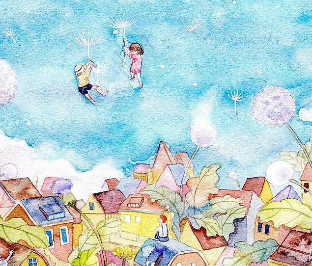镜花水月,插画师用一支水彩笔画出的梦想国
