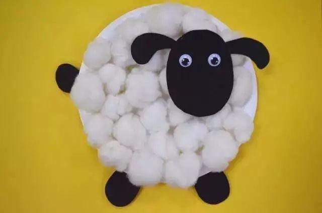制作步骤:用笔在白纸上画出小羊各部位轮廓可参照下图,大小形状可