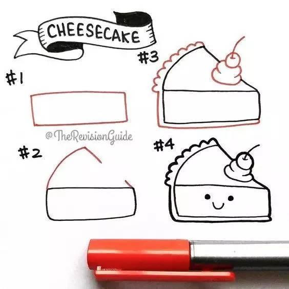 儿童简笔画 零食与小甜品的画法,让人胃口大开