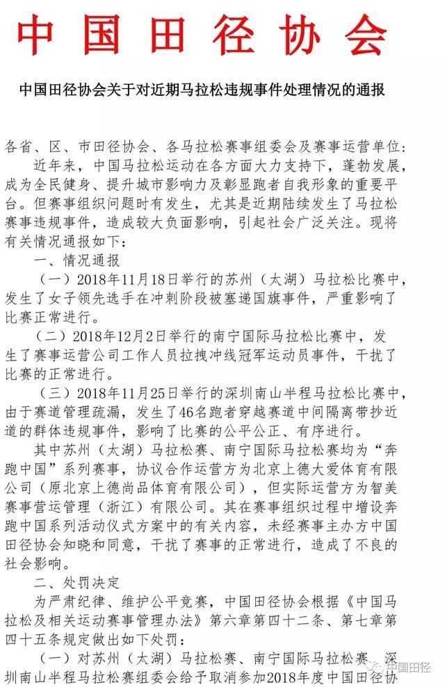 中国田径协会就近期马拉松违规事件作出处罚决定