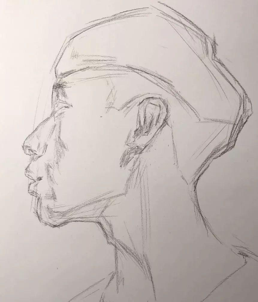 侧脸手绘图片男