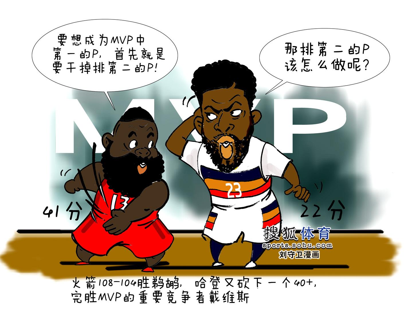 NBA漫画:哈登又狂轰40+ MVP之争第一打爆第二