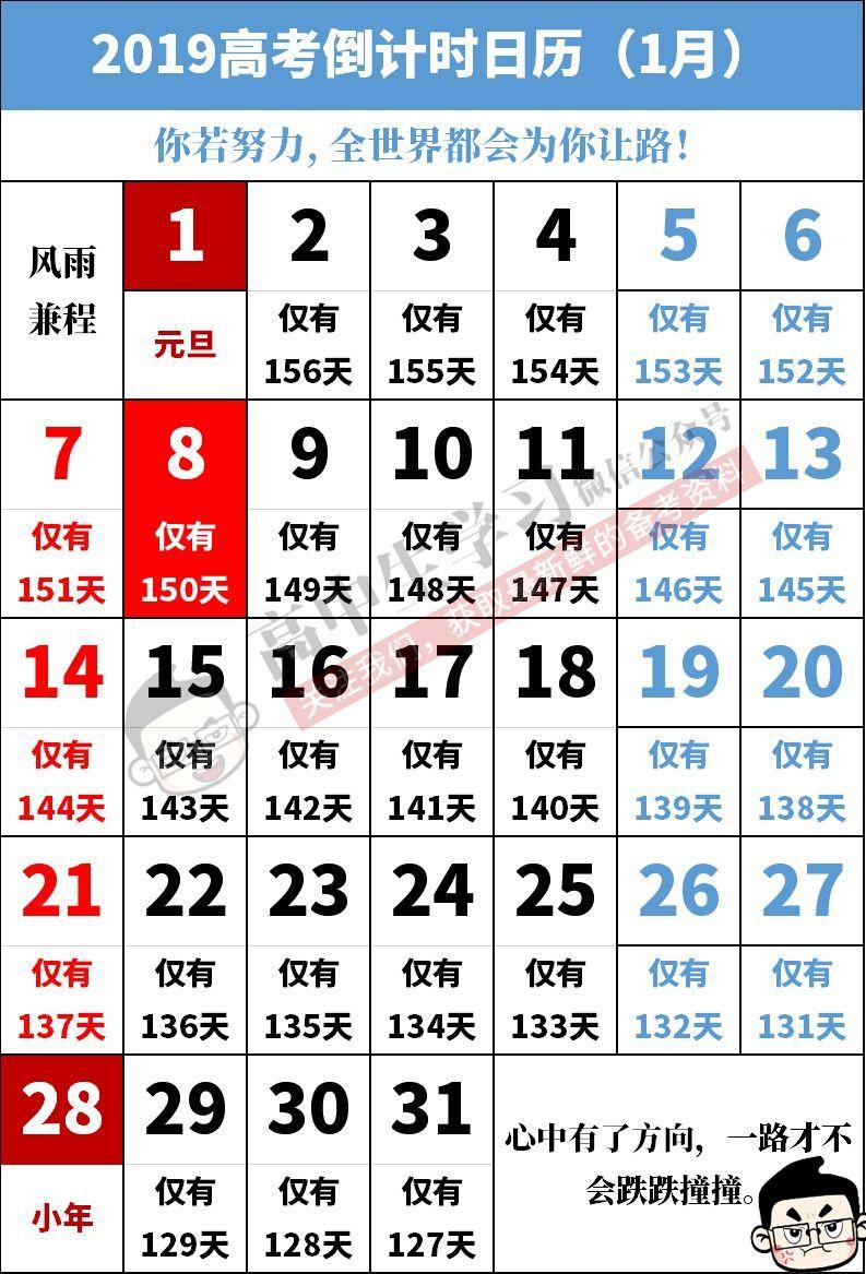 2019高考倒计时日历+高考每月大事提醒!请每位高三生和家长