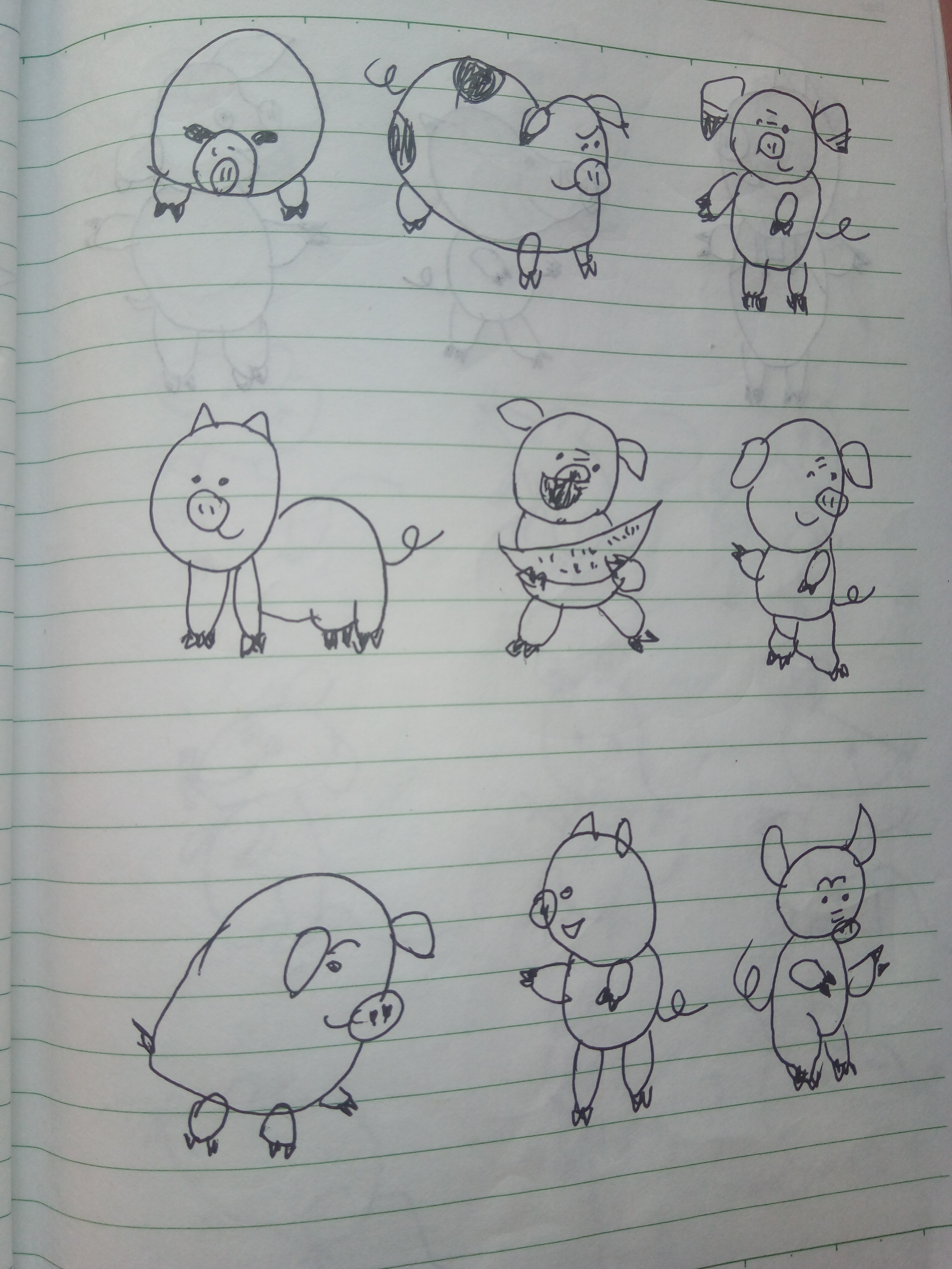 简笔画 宝贝猪你元旦快乐,猪猪们来了
