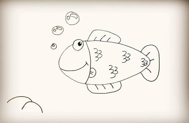 简笔画 海草和小鱼
