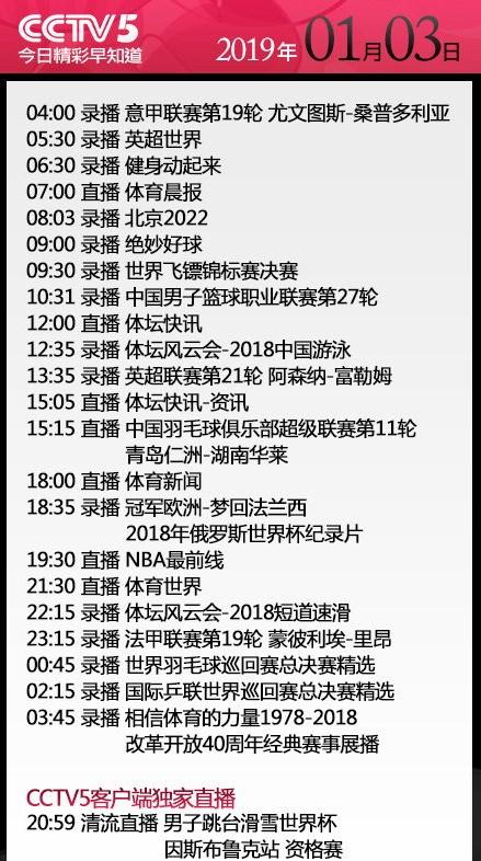 央视今日节目单 CCTV5+直播CBA广厦vs首钢 CCTV5直播NBA