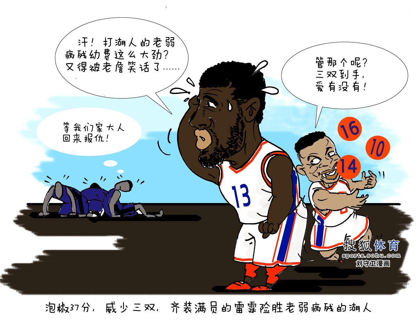 [狐]NBA漫画:NBA1819赛季-雷霆险胜老弱病残的湖人