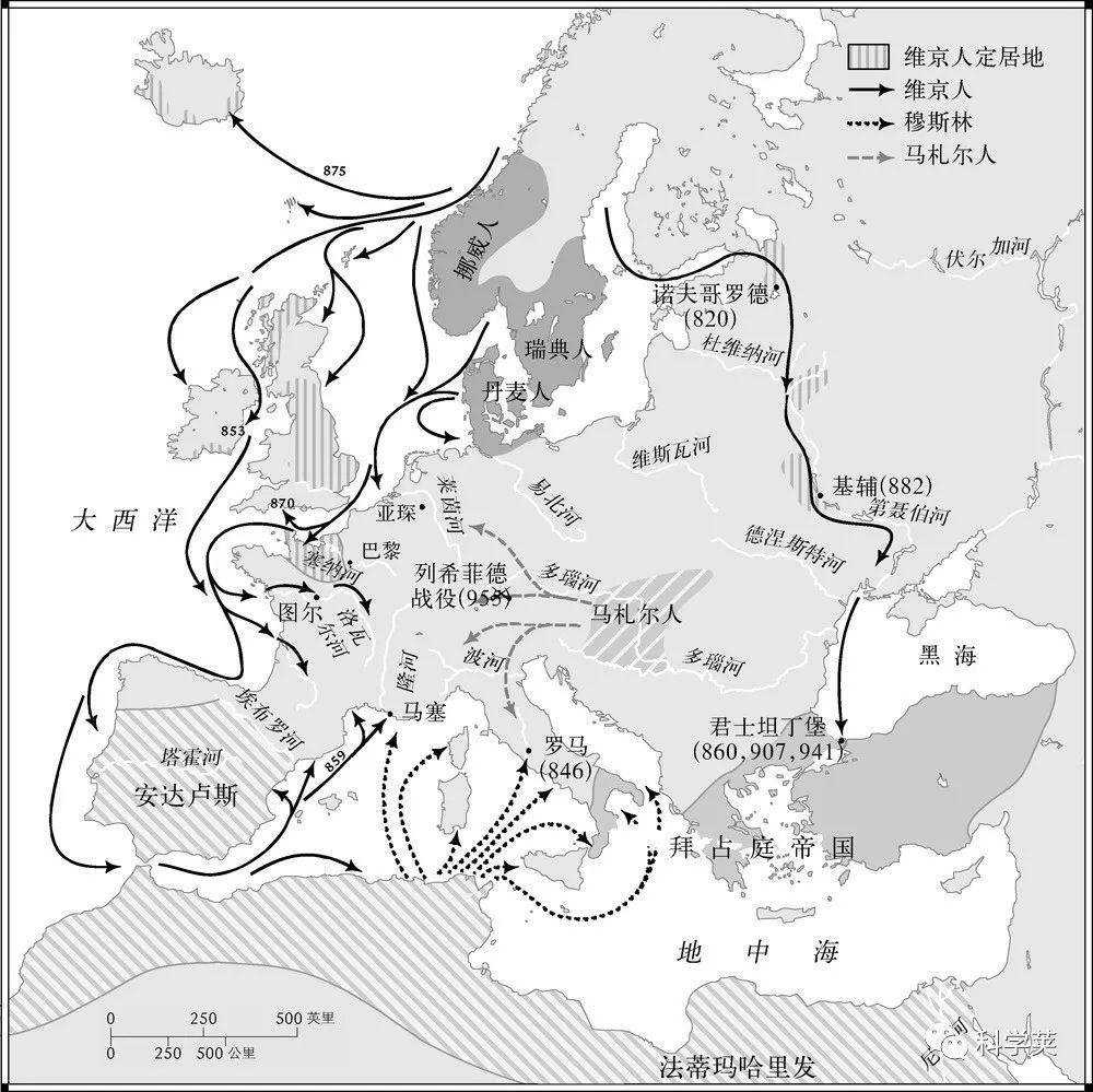△ 马扎尔人,维京人和穆斯林对欧洲的侵略图片