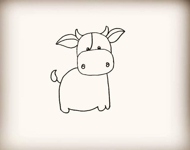 简笔画 小花牛