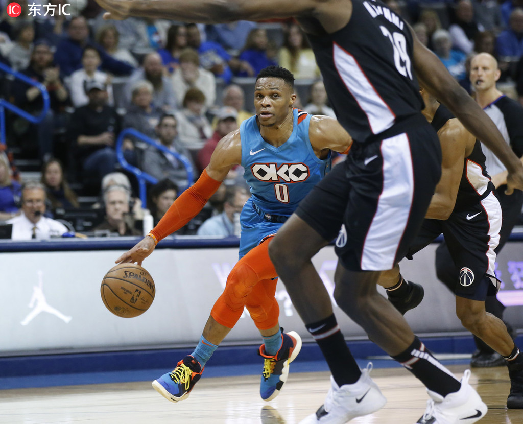 7日NBA球鞋上脚一览:威少上脚新鞋低效贡献三双