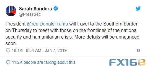 《纽约时报》(New York Times)报道称,此次边境之旅可能是特朗普本周第二次就政府关门问题公开表态。《纽约时报》援引一名知情人士的话说,白宫已要求电视台周二中断黄金时段的节目,以便特朗普就政府关门一事向全国发表讲话。