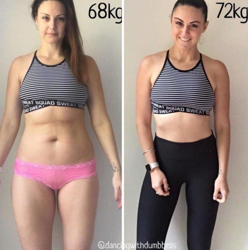 虽然体重相同  但因为他们脂肪和肌肉的比例不同  身材就会完全不同