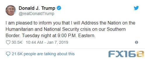 白宫周一还宣布,特朗普总统将于本周晚些时候访问美墨边境。他的访问正值政府因修建边境围墙的资金问题而部分关闭之际。