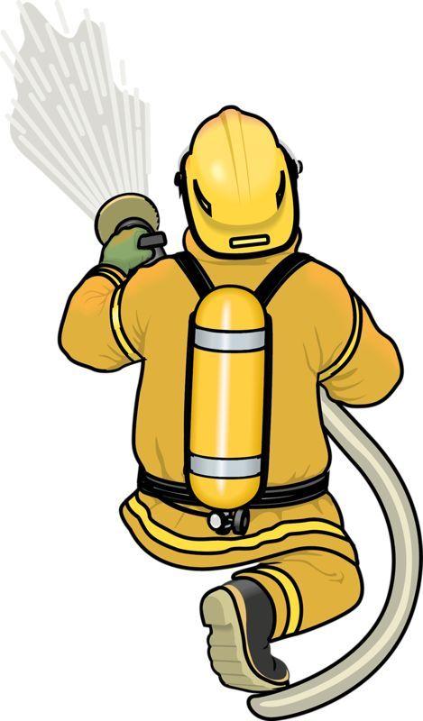 卡通手绘消防员英雄灭火器消防员黄色衣服