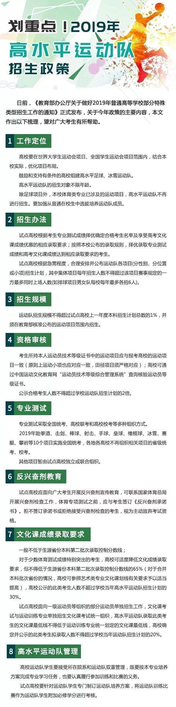 2019年浙江高水平运动队招生政策汇总