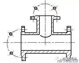 圆柱形法兰上均匀分布的孔的简化画法