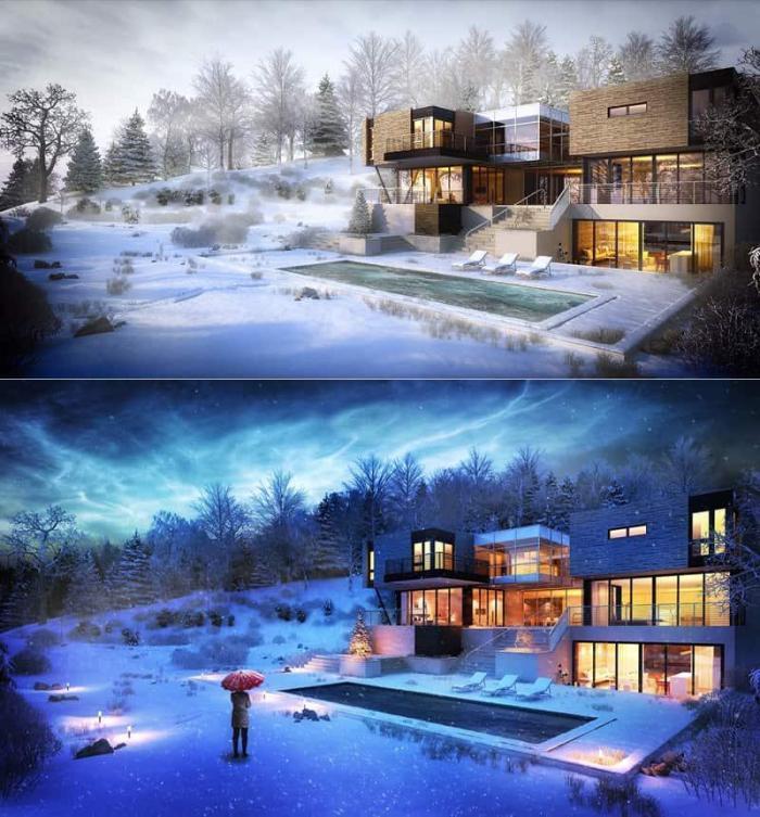 别墅建筑,欧美上9套世界和奇特的,别墅与现代建筑梦幻屋顶农村三角形图片