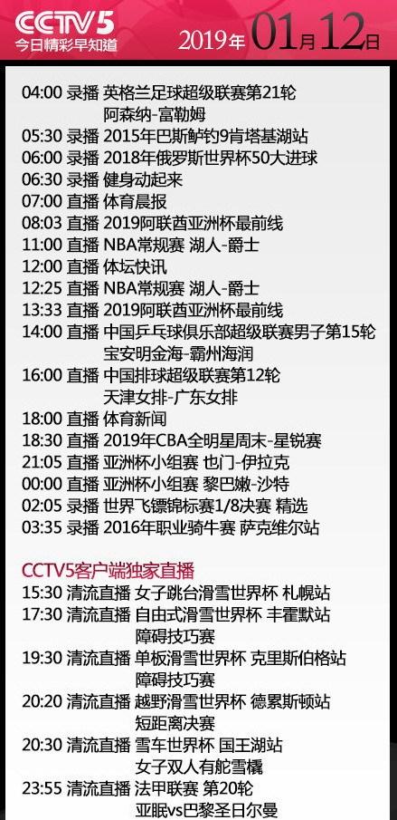 今日央视节目单 CCTV5转湖人vs爵士+CBA星锐赛 2频道转3场亚洲
