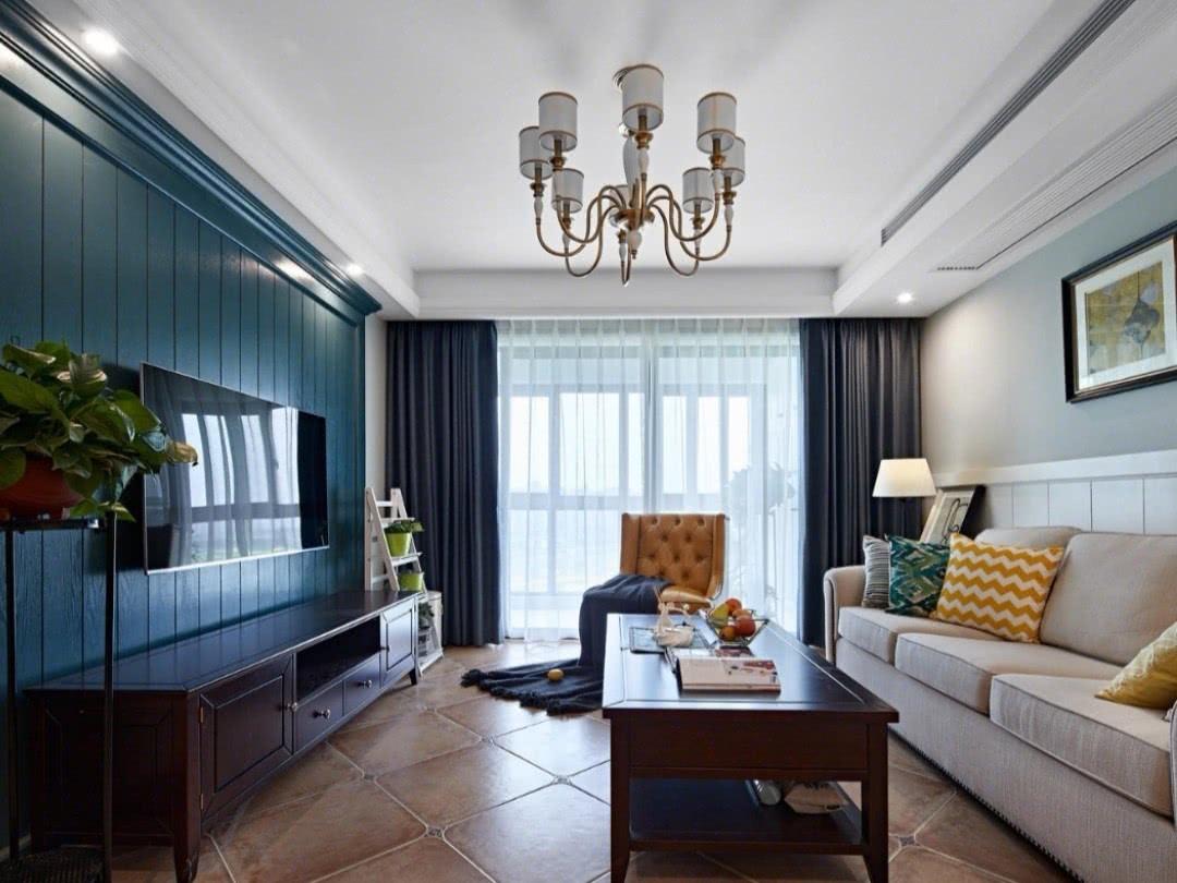 实拍110㎡美式风格装修效果,客厅效果很漂亮!榻榻米设计