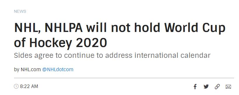 2020年冰球世界杯公布打消,这是怎样一回事儿?