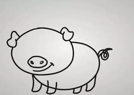 猪年《可爱的小猪》简笔画, 真是超萌!图片