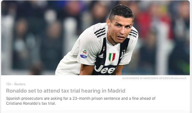 C罗重返马德里!出席税案庭审缴100万欧利息 本轮