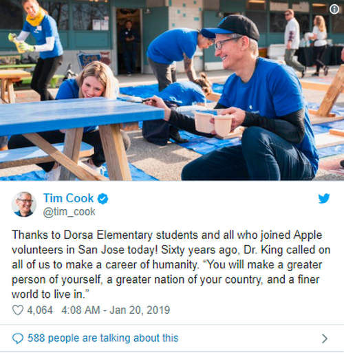 苹果发布慈善捐赠新闻稿 2018志愿服务时间超25万小时