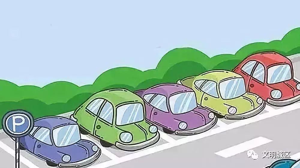 按标志,标线指示有序停车图片